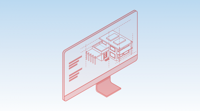 red icon of a building design on a computer on a blue background