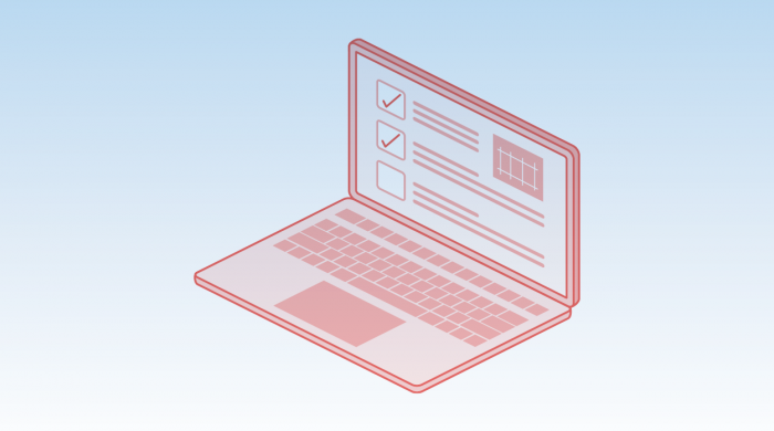 red icon of a computer with a checklist on a blue background - planning and constructability