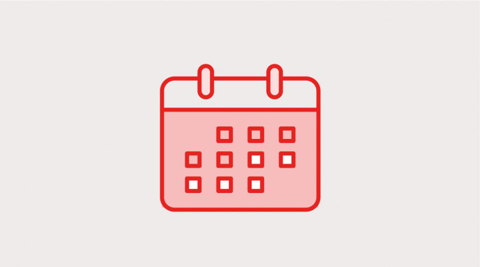 icon of a red calendar on a grey background