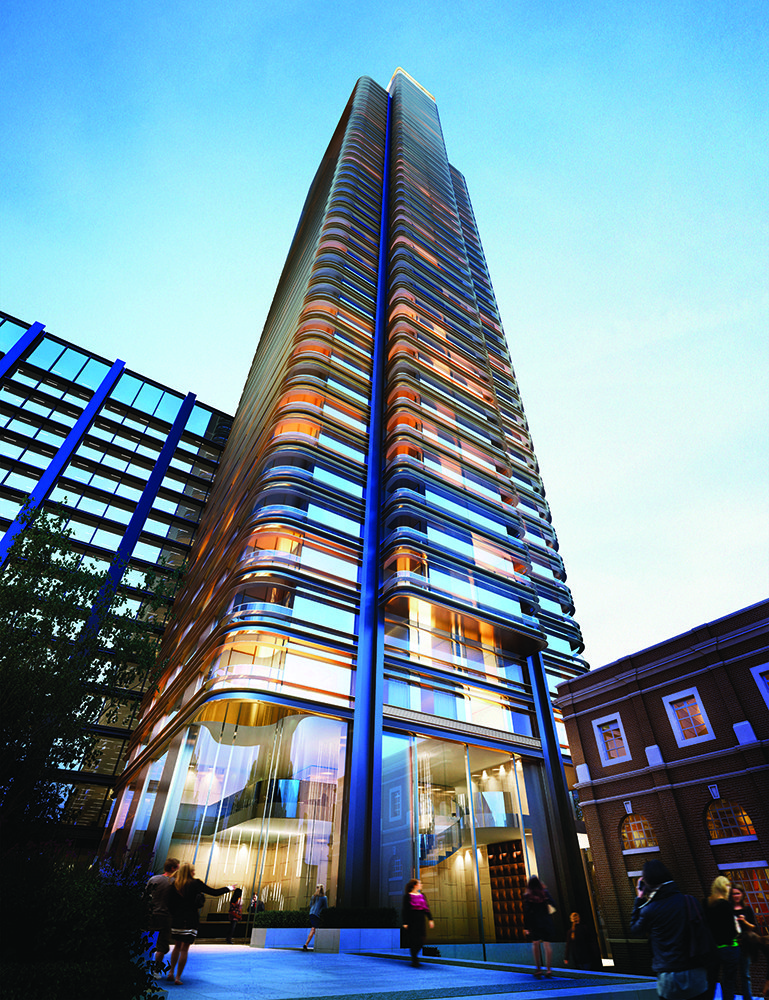 Rendering of Principal Place a high rise tower in London - front view