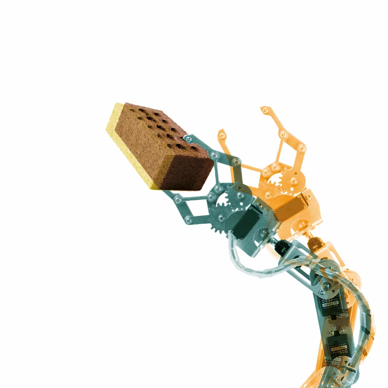 illustration of a robot hand carrying a brick