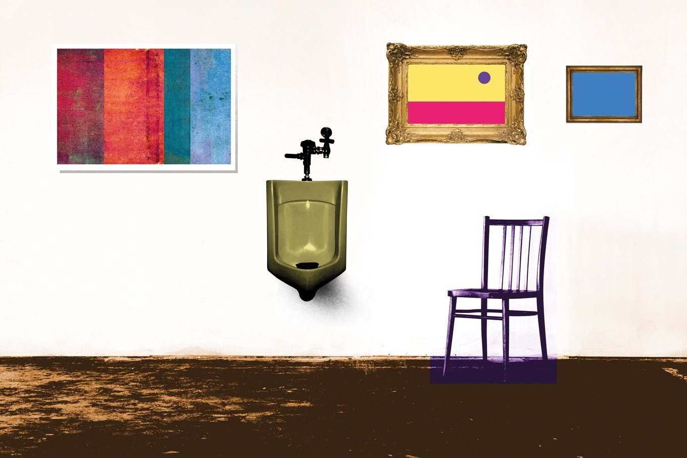 illustration of a museum with reused home objects like a chair