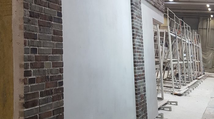 brick wall for NYPSO Hospital offsite construction