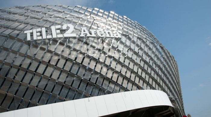 curved facades of Tele 2 Arena in Stockholm